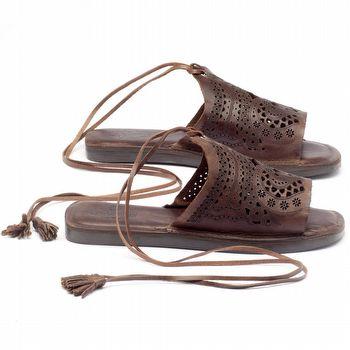 Rasteira Flat em couro marrom 141023