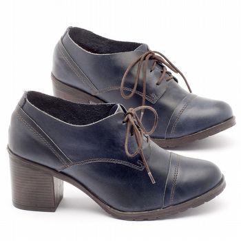 Sapato Retro Estilo Boho-Chic em couro azul - Código - 137042