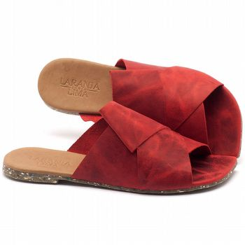 Rasteira Flat em couro vermelho com palmilha em couro - Código - 145015