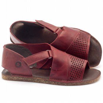 Rasteira Flat em couro vermelho - Código - 141047