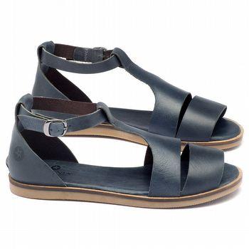 Rasteira Flat em couro azul marinho 141019