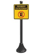 Pedestal Personalizado Preto 95cm - Proibido Estacionar