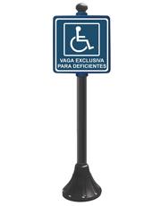 Pedestal Personalizado Preto 95cm - Vaga Exclusiva para Deficientes