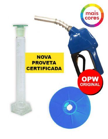 Combo com a Nova Proveta de 100 ml Com Certificado RBC 4 Pontos + Bico Automático 11A OPW + Protetor de Respingos OPW