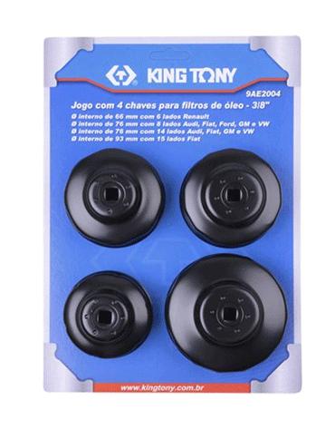 Jogo de Saca Filtro de Óleo 4 Peças - King Tony