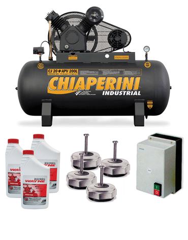Combo Compressor de Ar Trifásico 175 psi 20 pcm + Chave Magnética + 4 Mini Stop + 3 Litros de Óleo Lubrificante