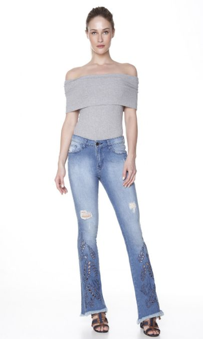 CALCA JEANS BORDADO JANNA