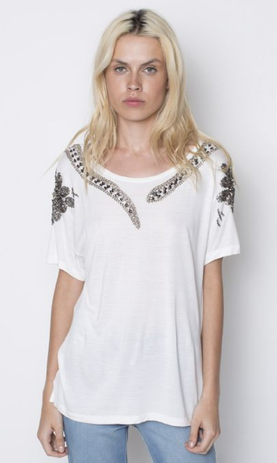 CAMISETA BORDADO SNAKE FLOWER