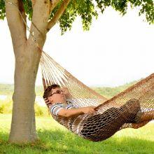 Rede de Dormir e descanso Camping Nylon Imperme�vel Tarrafa Marrom