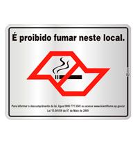Placas de Aviso Proibido Fumar Lei 13541 16x25cm - C25007 16x25 - Indika