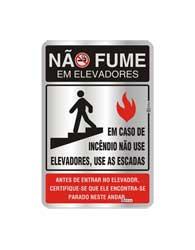 Placa de Aviso Não Fume Em Elevadores 16x25cm - C25006 - Indika