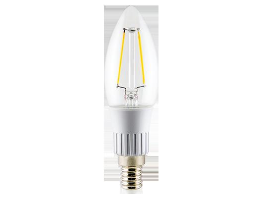 Lâmpada LED Vela Lisa Filamento Clara E14 3W Bivolt Branca Quente 2700K  20175 Ourolux