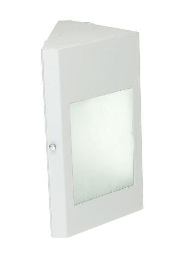 Arandela de Alumínio Triangular e Base Reta Para 1 Lâmpada E27 com Vidro 100% Jateado - Branca - 458/1 BC - Thema Lustre