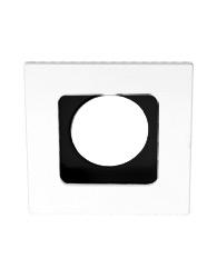 Spot de Embutir Quadrado Recuado Dirigível de Alumínio Para 1 Lâmpada Dicroica de Até 50w - Branco e Preto - Mf 129 Br/pt - Metal Técnica