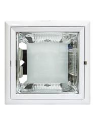 Luminária de Embutir Quadrada Para 2 Lâmpadas PL 4 Pinos Até 26W com Parte do Vidro Jateado - Face Reta -  Branca  - NS31-80-9 PL - B.Bauer