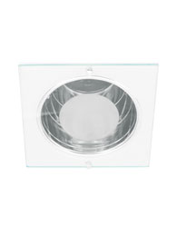 Spot de Embutir Quadrado de Alumínio com Vidro 30% jateado Para 1 Lâmpada E27 até 15W Branco - MF 080/E - Metal Técnica.