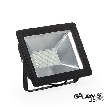 REFLETOR SLIM LED PRETO 100W BIVOLT BRANCA 1LED - 140101019 - GALAXY