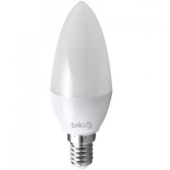 Lâmpada Led Vela Lisa Leitosa 3W Bivolt E14 2700K Luz Branca Amarelada 280 lúmens 434109 Brilia