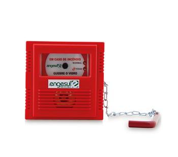 Acionador Manual Endereçável Com Martelo e Porta Chave Quebre o Vidro  IP 20 4612003 Engesul