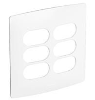 Placa 4x4 3+3 Postos Separados Seda Sal - 663430 - Pial Legrand Nereya