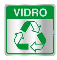 Placa de Aviso Reciclagem Vidro 16x16cm - C16033 - Indika