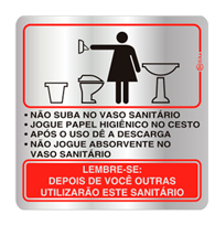 Placa de Procedimento Sanitário Feminino 16x16cm - C16006 16x16 - Indika