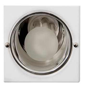 Luminária de Embutir Quadrada de Alumínio Para 1 Lâmpada E27 até 15W com Vidro 30% Jateado Branca - MF 112 - Metal Técnica