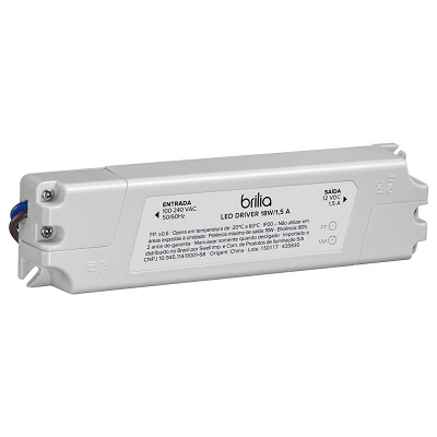 Driver Led 18w 1,5a Bivolt Ip20 Uso Interno, Brilia