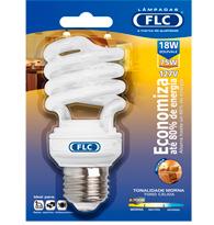 Lâmpada Eletrônica Espiral 18W X 127V Branca Quente (Luz Amarela) E27 01042118 FLC