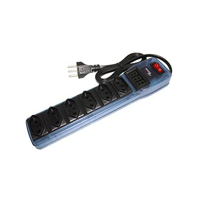 Filtro de Linha Com 6 Tomadas e Voltímetro Digital Azul, Multicraft