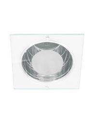 Spot de Embutir Quadrado de Alumínio com Vidro 30% jateado Para 1 Lâmpada 2 ou 4 Pinos até 26W Branco - MF 080/SF - Metal Técnica.