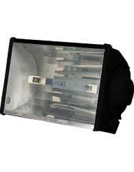 Luminária Retangular 160W E-27  Preta para lâmpadas incandescente, mista, vapor mercúrio, sódio e  metálico - W160 PT - Reflumi