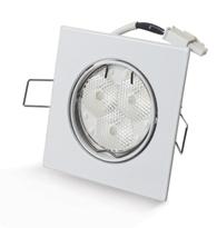 Spot Embutir Quadrado Branco com 3 Leds 7W  Bivolt Luz Branca Morna (Amarela) - 03160 - Ourolux