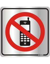 Placa de Aviso Proibido Uso de Celular 16x16cm - C16011 - Indika