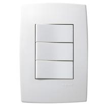 Conjunto Placa 4x2 com 2 interruptores Simples 1 Paralelo 10A Ref. 613101 - Pial Legrand Plus