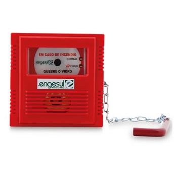 Acionador Manual Enderecavel Com Martelo Quebre o Vidro Sem Sirene IP 20 4612008 Engesul