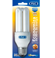 Lâmpada Eletrônica Tripla 20w X 127v Branca Quente (luz Amarela) E27 01010182 Flc