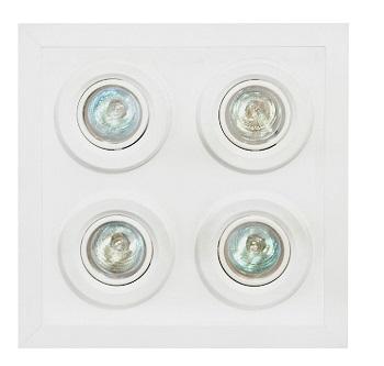 Luminária de Embutir Quadrada de Alumínio Para 4 Lâmpadas dicroicas de até 50W Branca - MF 137 DC - Metal Técnica.