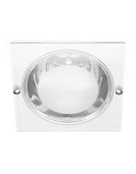 Luminaria de Embutir Quadrada de Aluminio Para 1 Lampada E27 At? 15w Com Vidro 30% Jateado Branca - Mf 141/e - Metal Tecnica