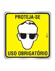 Placa de Aviso E.P.I. Óculos 16x16cm C16038 Indika