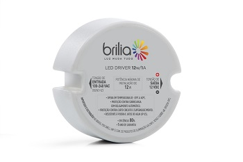 Driver Led 12W 1A Bivolt IP20 Uso Interno 430545 Brilia