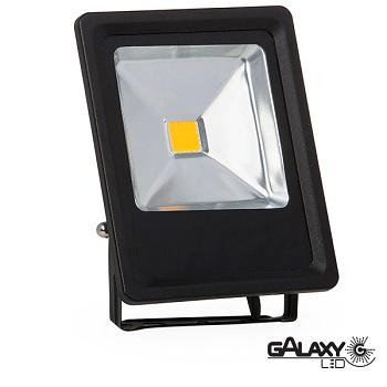 Refletor Led 30w Bivolt Branco (luz Branca)  6500k 2100lm Ip65 Slim Preto 140101007 Galaxy