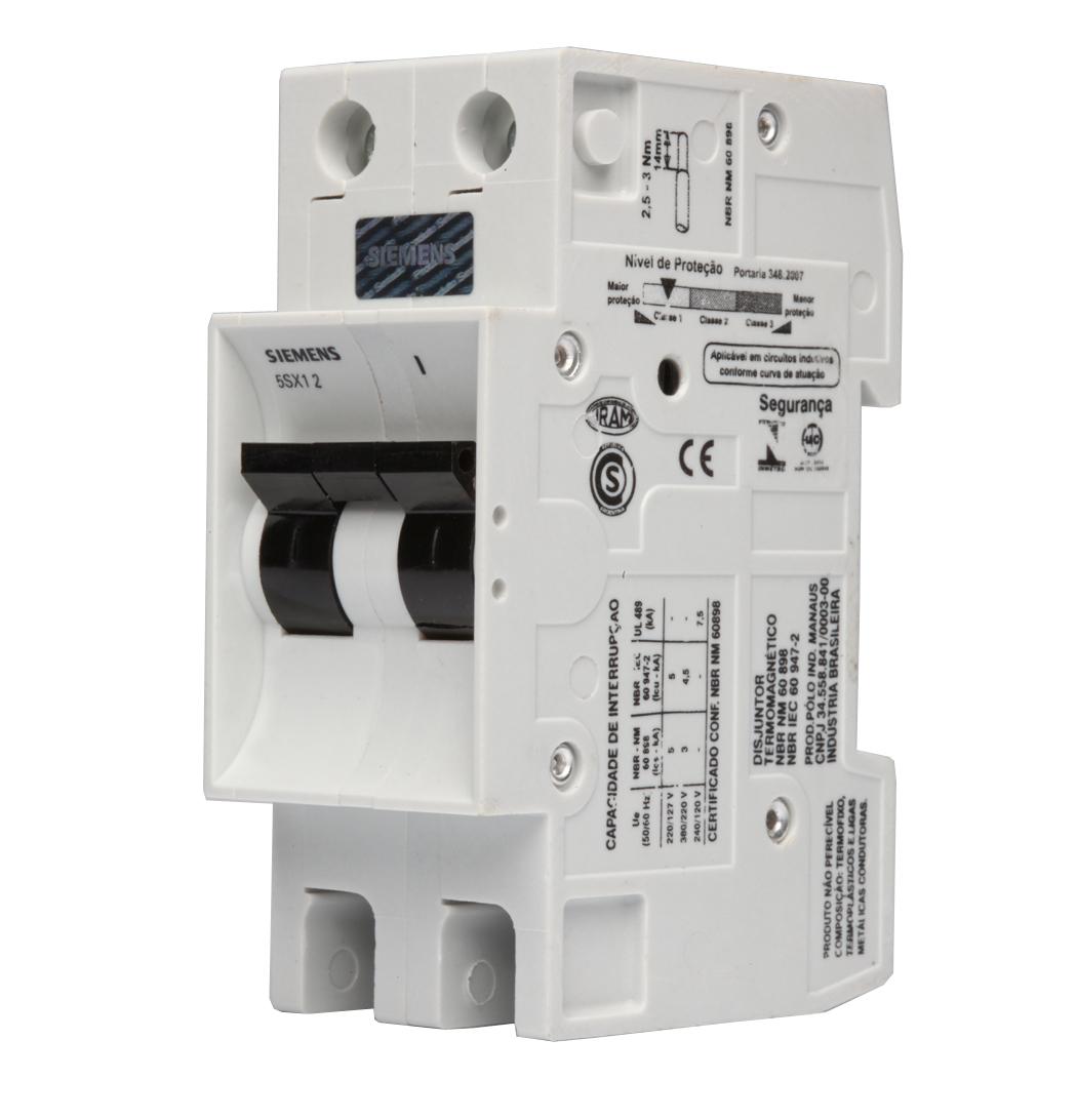 Disjuntor Bipolar 10a Curva C 5sx12107 Siemens Santil