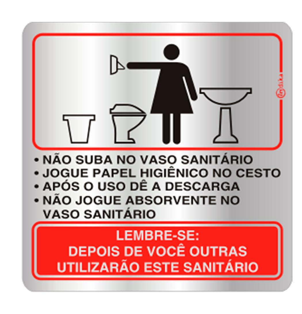 Placa de Procedimento Sanitário Feminino 16x16CM C16006 16x16  #CA0801 1050x1092 Aviso Para Banheiro Interditado