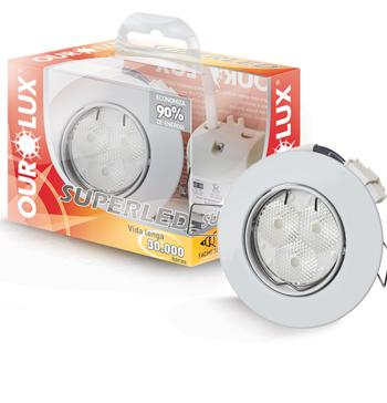 Spot Embutir Redondo Branco com 3 Leds 7W Bivolt Luz Branca Fria (Branca) - 03150 - Ourolux