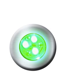 Hiper led 9w RGB corpo latão / frontal INOX  p/ até 14m²