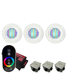 Kit Iluminação para Piscinas de até 24m² (3 Led Pool 61 RGB Pratic - 3 Caixas de Passagem Tampa Inox - 1 Controle c/ Comando de Luminárias Led Touch)
