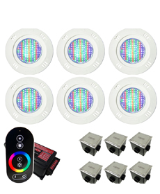 Kit Iluminação para Piscinas de até 48m² (6 Led Pool 61 RGB Pratic - 6 Caixas de Passagem Tampa Inox - 1 Controle c/ Comando de Luminárias Led Touch)
