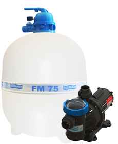 Filtro FM-75  e Bomba 1,5cv BM-150 Mono p/ piscinas de até 176 mil litros