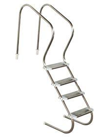 Escada em aço inox Confort 2´´ com 4 degraus duplos em aço inox